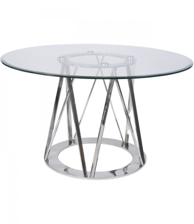 Stainless Steel And Glass Dining Table