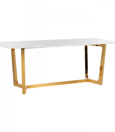 White Marble Effect Rectangular Dining Table