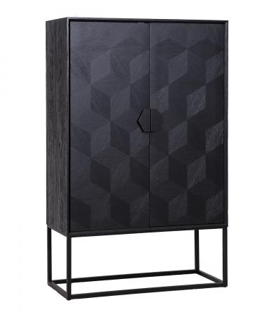 Geometric Oak And Iron Cabinet