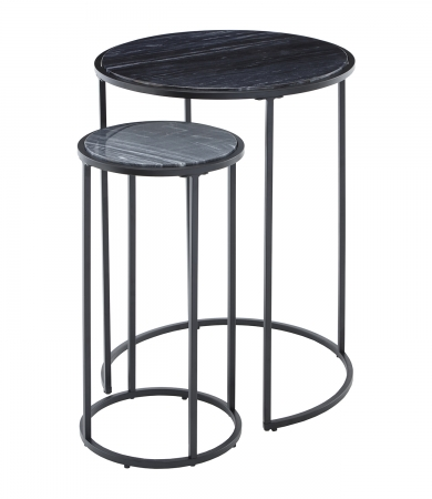 Black Marble Nest Of Two Tables