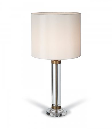Clear Crystal Table Lamp With An Antique Brass Trim