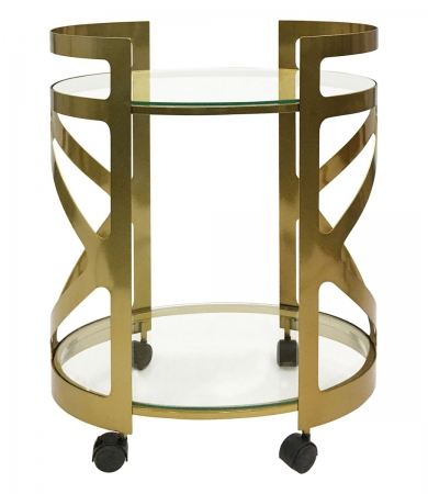 Metallic Champagne and Off-White Marble Drinks Trolley