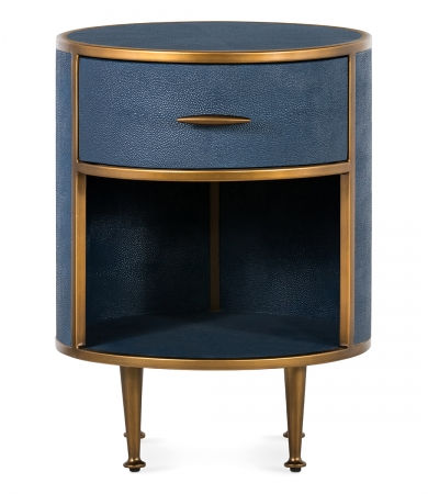 Round Navy Faux Shagreen Bedside Table
