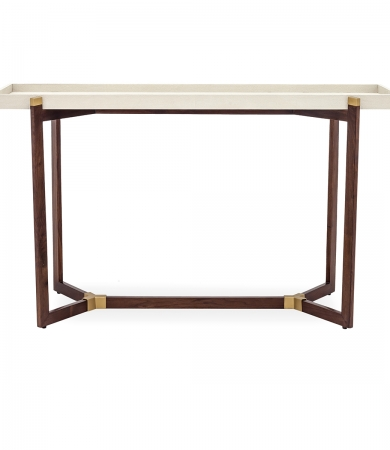 Cream Faux Shagreen Tray Top Console Table