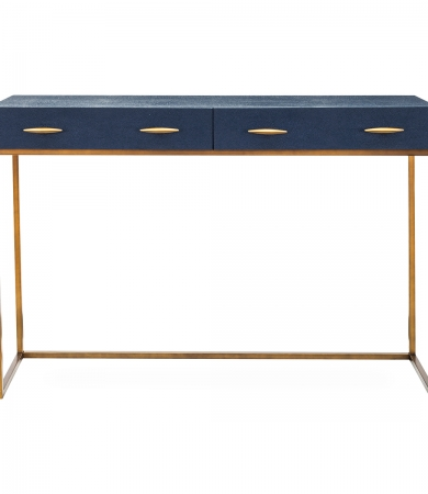 Navy Faux Shagreen Console Table