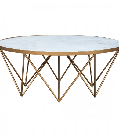 Marble Glass Top Coffee Table with Gold Pointed Legs