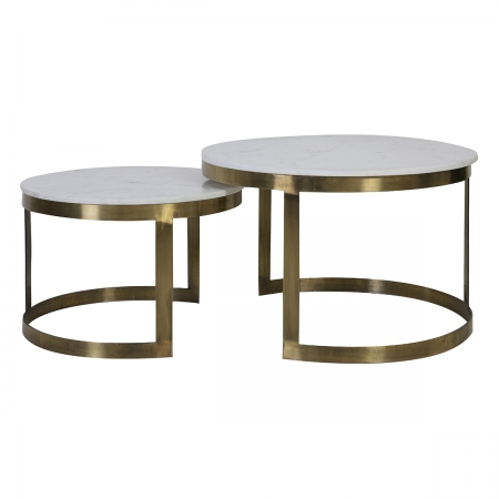 White Marble and Antique Bronze Set of Two Coffee Tables