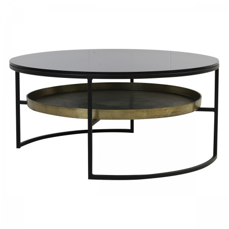 Circular Black Glass and Antique Bronze Coffee Table