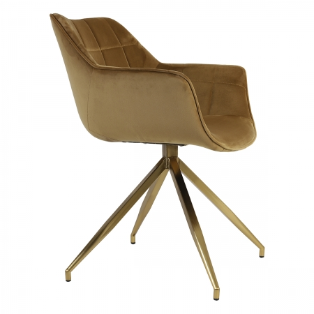 Caramel Velvet Set of Two Dining Chairs with Gold Legs