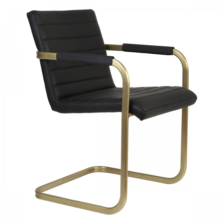 Black Leather and Gold Dining Chair