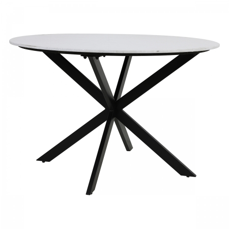 White Marble Round Dining Table with Cross-Legged Base