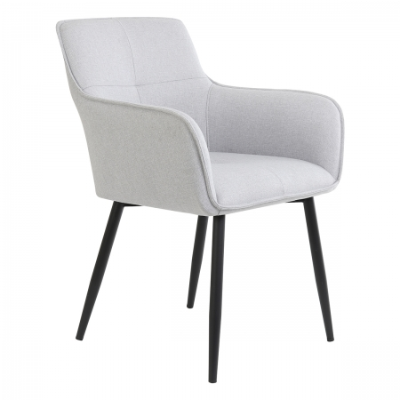 Light Grey Textile Set of Two Dining Chairs with Black Legs