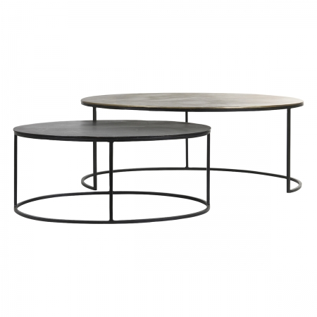 Bronze and Dark Bronze Nest of Two Oval Coffee Tables