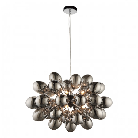 Cluster Pendant with Eight Lights and Smoke Glass Shades