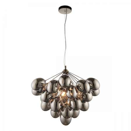Cluster Pendant with Six Lights and Smoke Glass Shades