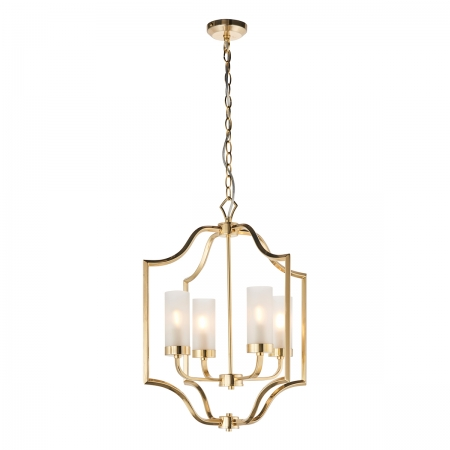 Satin Brass Finish Pendant with Frosted Glass Shades