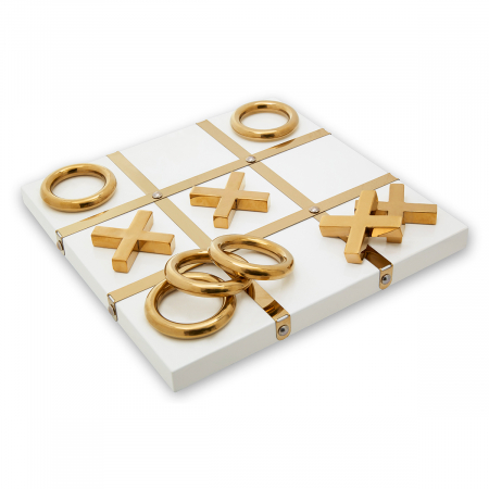 White and Gold Tic-Tac-Toe Game
