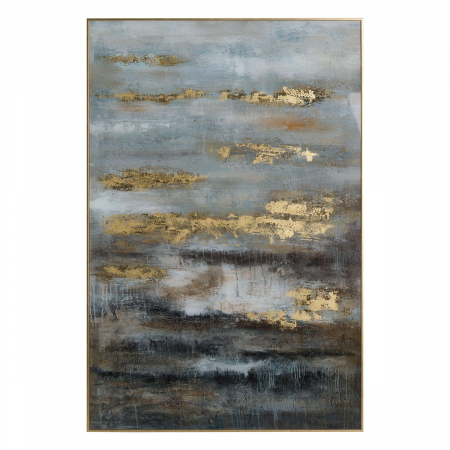 Abstract Grey and Gold Glass Image in Frame
